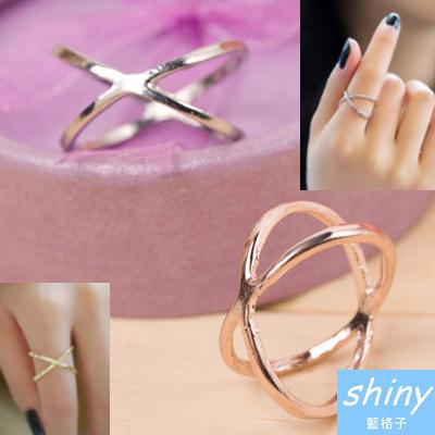 【93A80】shiny藍格子-無造經典.清新簡單交叉時尚戒指