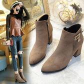 馬丁靴女 韓版秋季新品粗跟高跟靴絨面水鑽成熟氣質短靴女靴子