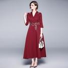 --實拍 歐美新款 紅色V領長款連衣裙 名媛氣質刺繡禮服長裙