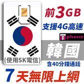 【TPHONE上網專家】韓國 7天無限上網卡 前3GB高速 支援4G 含40分鐘通話 使用SK最大電信 隨插即用