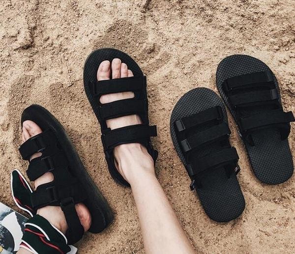 找到自己 MD 韓國 時尚休閒 潮 男 透氣 魔術貼涼鞋 男女情侶 涼鞋 拖鞋 海灘鞋