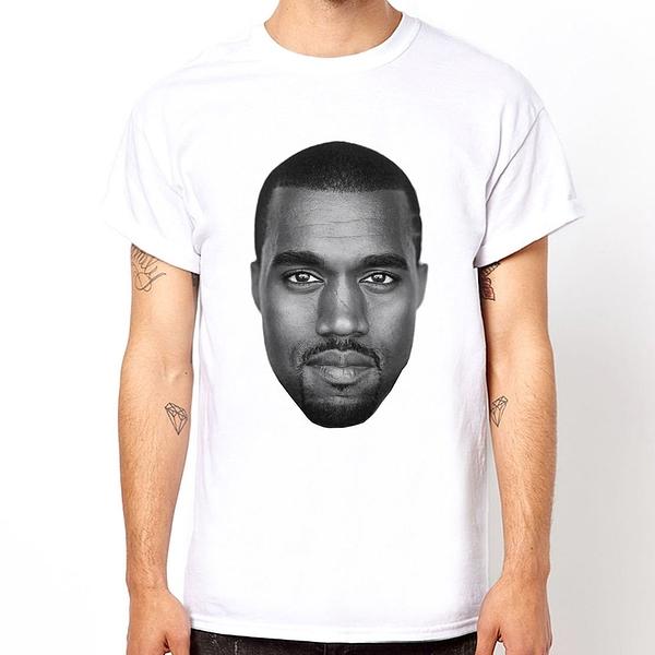 Kanye West-Face 短袖T恤-白色 R&B饒舌歌手rap hip hop Jay Z 進口