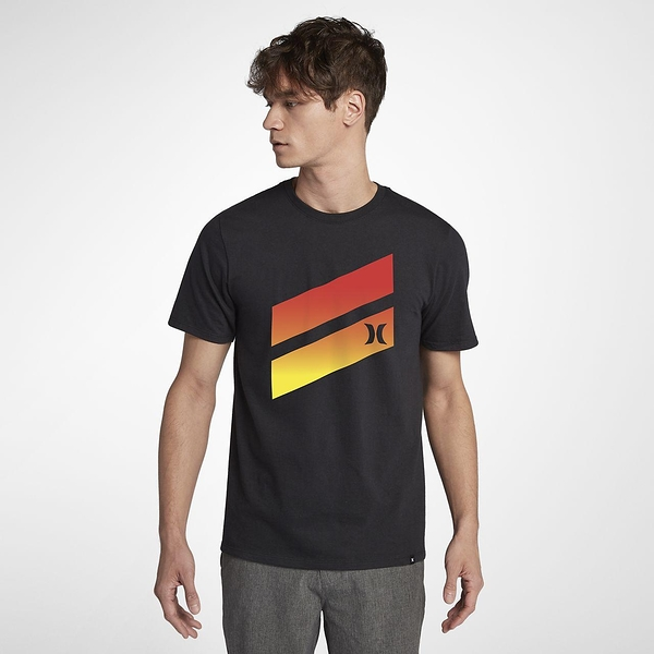 Hurley PREMIUM ICON SLASH GRADIENT SHORT SLEEVE T恤-黑(男)