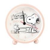 小禮堂 史努比 圓型塑膠鬧鐘 桌鐘 時鐘 (粉 鋼琴) 4573218-61402