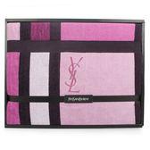 YSL經典LOGO幾何色塊純棉毛巾蓋毯禮盒(桃紅色)989208-69