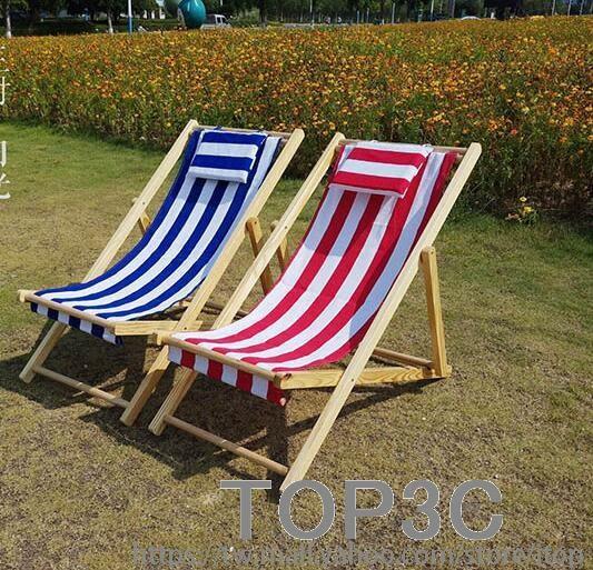 沙灘椅折疊椅實木躺椅帆布椅午休椅靠椅戶外便攜椅陪護椅懶人椅「Top3c」