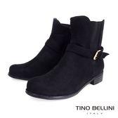 ★零碼出清★Tino Bellini歐風極簡絨布拼接彈力帶短靴(黑)_IN1019 網路限定價
