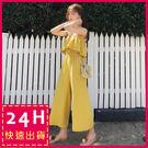 顏色:黃色、淺藍色、黑色尺碼:均碼縮腰荷葉邊細肩帶連身褲裝✨