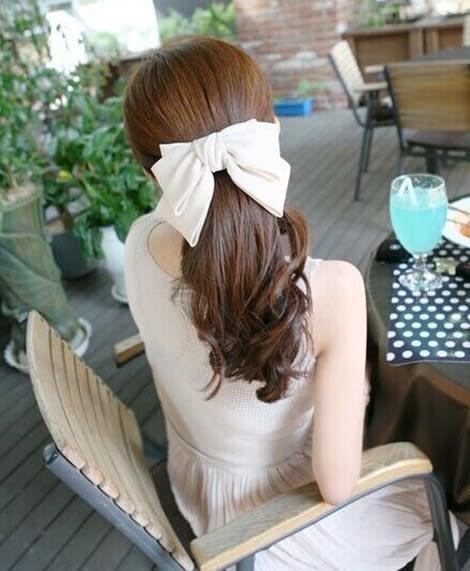 [協貿國際]  韓版髮飾多層超大蝴蝶結彈簧夾髮夾 (2個價)
