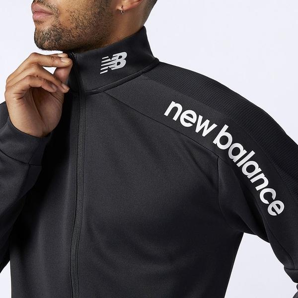 New Balance 男裝 外套 慢跑 乾爽 針織 LOGO 黑【運動世界】AMJ11090BK