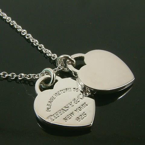 【奢華時尚】Tiffany 心心相映迷你吊牌墜飾925純銀項鍊#5601