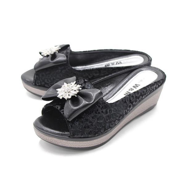 【南紡購物中心】W&M (女) 魚口鑽花楔型厚底彈力涼拖鞋 女鞋 -黑(另有古銅色)