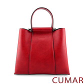 CUMAR 雲彩刷紋多夾層手提斜背包-紅色