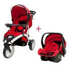 欣康 SYNCON 歐式風格三輪嬰兒手推車(紅)+提籃型推車汽座(紅)