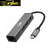 T.c.star 連鈺 TYPE-C (公)轉網卡/USB 2.0*3 (母) OTG鋁合金轉接器 TYC-MF003GR