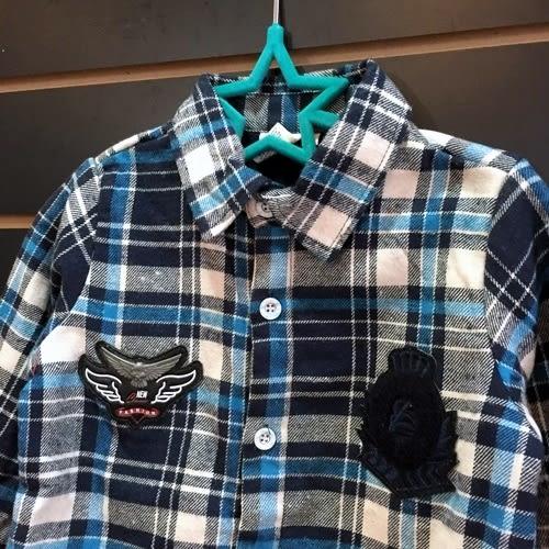 ☆棒棒糖童裝☆秋冬男童厚款色藍色格子內刷毛襯衫  5-15