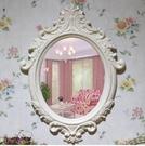 歐式梳妝鏡壁掛鏡子梳妝台鏡田園化妝鏡浴室鏡(大號9028象牙白80*60)