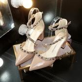 春夏包頭鉚釘涼鞋女尖頭中高跟淺口單鞋粗跟柳釘一字扣帶女鞋