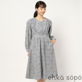「 Winter 」 燈芯絨碎花打印前排釦收腰洋裝 (提醒→SM2僅單一尺寸) - Sm2
