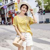 棉麻襯衫女士夏季寬鬆白色碎花亞麻短袖上衣
