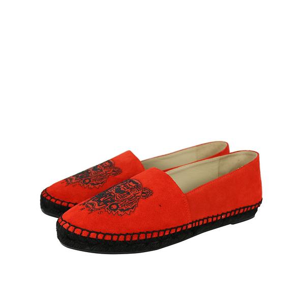 【KENZO】虎頭麂皮草編底樂福鞋(夕陽紅Blood) F562ES180L54/16