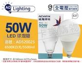 ADATA威剛照明 AL-BUA50C2-50W65C LED 50W 6500K 白光 E27 全電壓 球泡燈 _ AD520025