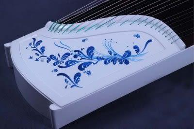 紅木彩繪青花瓷白古箏 演奏10級【藍星居家】