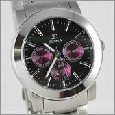 【萬年鐘錶】SIGMA 黑紫圈 三眼時尚腕錶 8807M-1