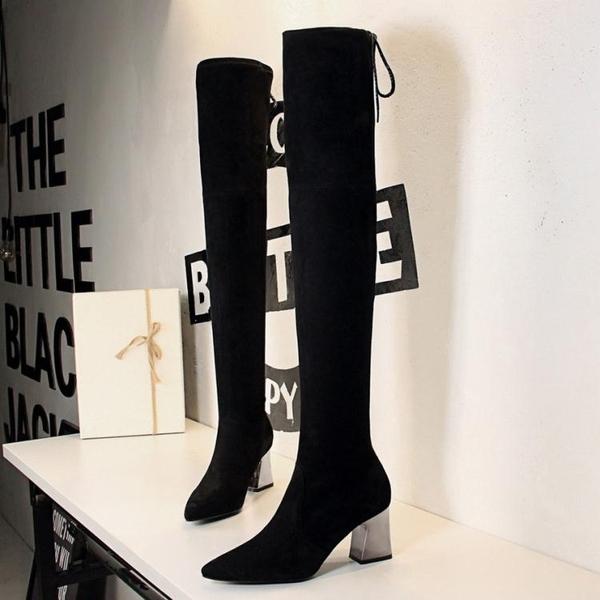 長筒靴 過膝長靴 長筒女靴子粗跟高跟尖頭性感顯瘦夜店修腳歐美風膝上靴《小師妹》sm2625