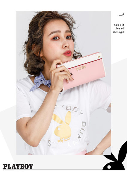 PLAYBOY- L型拉鍊長夾 甜心女孩 Sunny Cake系列-甜美粉