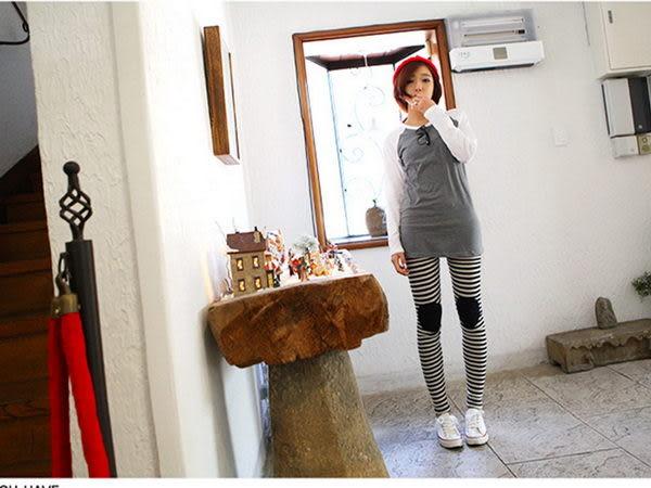 *孕味十足。孕婦裝*【FA1752】韓版人氣款。條紋護膝造型孕婦內搭褲 2色