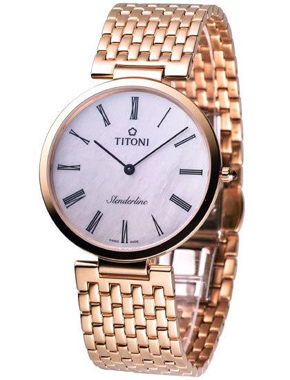 TITONI 梅花麥 超薄 男用石英腕錶 金色 TQ52926RG-340