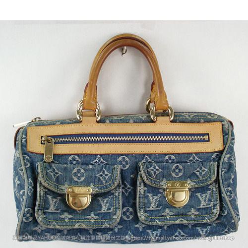 茱麗葉精品 二手名牌【8.5成新】Louis Vuitton LV M95019 SPEEDY DENIM 牛仔丹寧雙口袋波士頓包(藍)