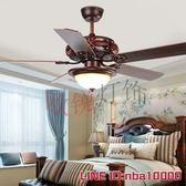 吊傘燈歐銳 風扇燈吊扇燈餐廳客廳家用美式復古木葉遙控吊燈AC110V220VJD CY潮流站