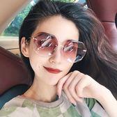 新款女士防紫外線墨鏡網紅同款太陽鏡圓臉長臉韓版開車眼鏡潮 時尚教主