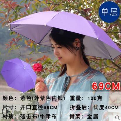 雙層防風防雨釣魚傘帽頭戴式雨傘防曬折疊