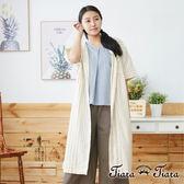 【Tiara Tiara】百貨同步aw 粗細條紋拼接襯衫式洋裝(黃)