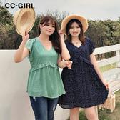 中大尺碼 雪紡V領遮肚短袖娃娃衫(上衣/洋裝)~共兩色兩款 - 適XL~4L《 68158 》CC-GIRL