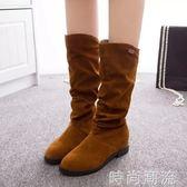 秋冬新款長靴韓版平底彈力襪子靴復古套腳中筒靴絨面長筒靴女   時尚潮流