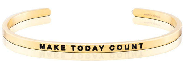 MantraBand Make Today Count 美國悄悄話手環 激勵箴言 金色手環 Ray Fair