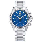 Ogival 瑞士愛其華  精銳戰將三眼計時石英腕錶-藍/45mm