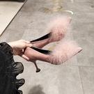 甜美娃娃鞋 2018秋冬尖頭毛毛單鞋淺口細跟高跟鞋粉色仙女貓跟鞋性感時尚女鞋 豆豆鞋