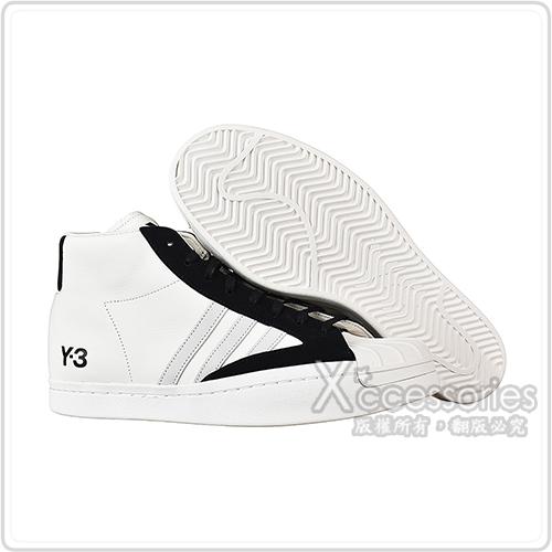 Adidas Y-3 YOHJI PRO黑字LOGO皮革拼接麂皮高筒運動鞋(白x黑x灰條紋)