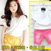 【韓版童裝】彈力素色素面荷葉袖箱子T-白【BD18051705】