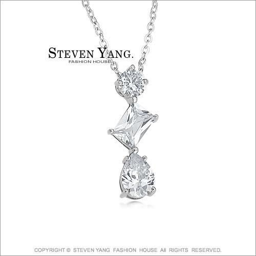 項鍊STEVEN YANG正白K飾 幾何愛戀 八心八箭 附鋼鍊