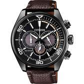 情人節推薦款 CITIZEN 星辰 光動能極限戰警計時腕錶-黑x咖啡/43mm CA4335-11E