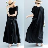 連身裙-短袖蝙蝠袖寬鬆繫帶長款女洋裝73te5[巴黎精品]