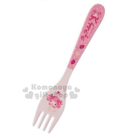 〔小禮堂〕美樂蒂 美耐皿叉子《粉.草莓》塑膠叉.環保餐具.兒童餐具 4901610-80998