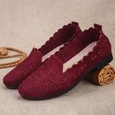 老人美媽媽鞋中老年奶奶單鞋春季透氣軟底防滑輕便老北京布鞋女鞋
