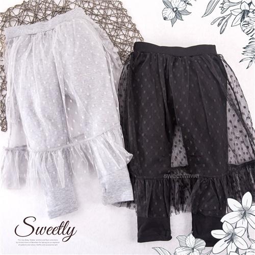 萬聖節聖誕節-夢幻公主-點點雪紡紗內搭長褲裙-2色(300071)【水娃娃時尚童裝】